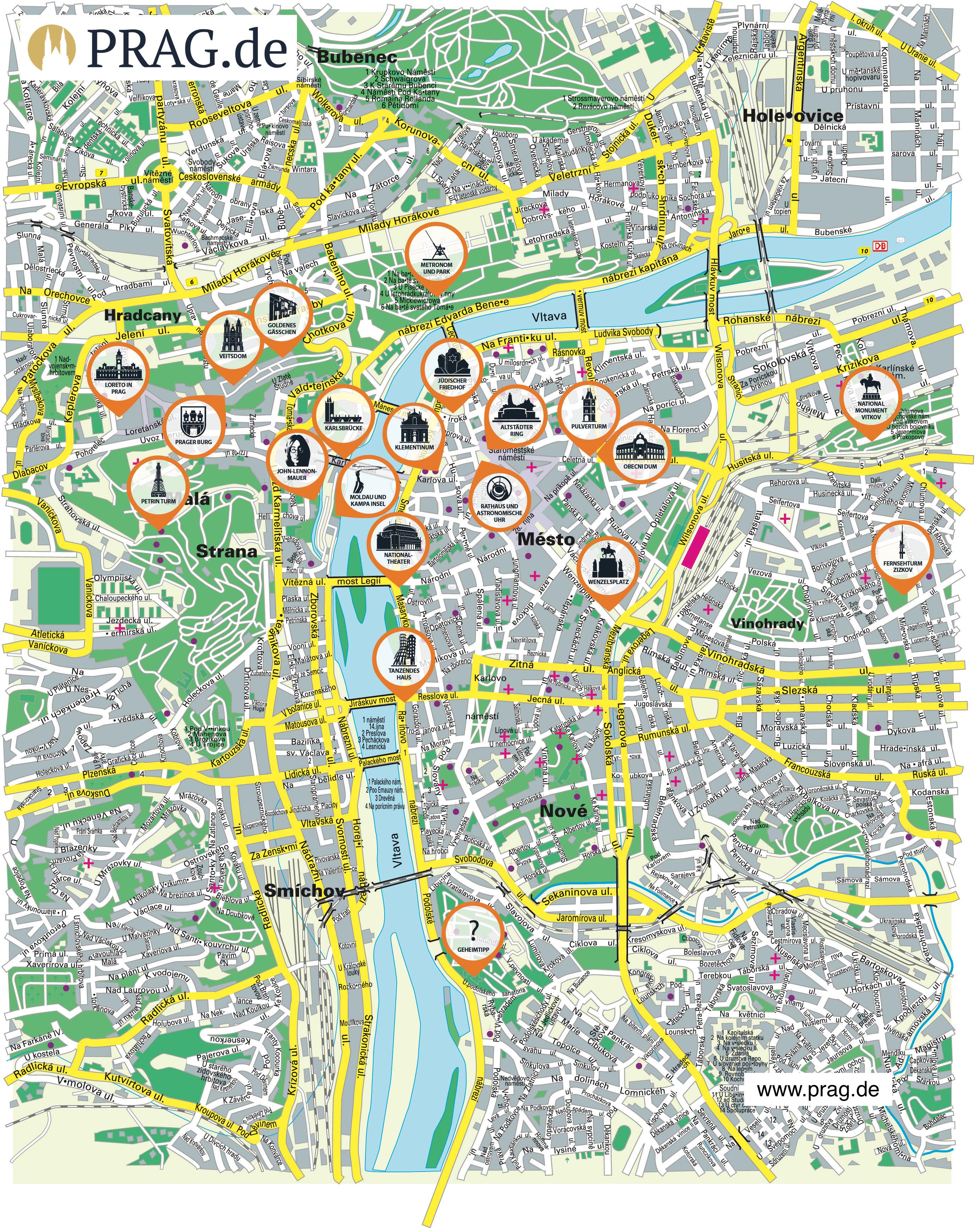 Prag Karte Tschechien.Prag Stadtplan Pdf Sehenswürdigkeiten Altstadt Zum Ausdrucken Als