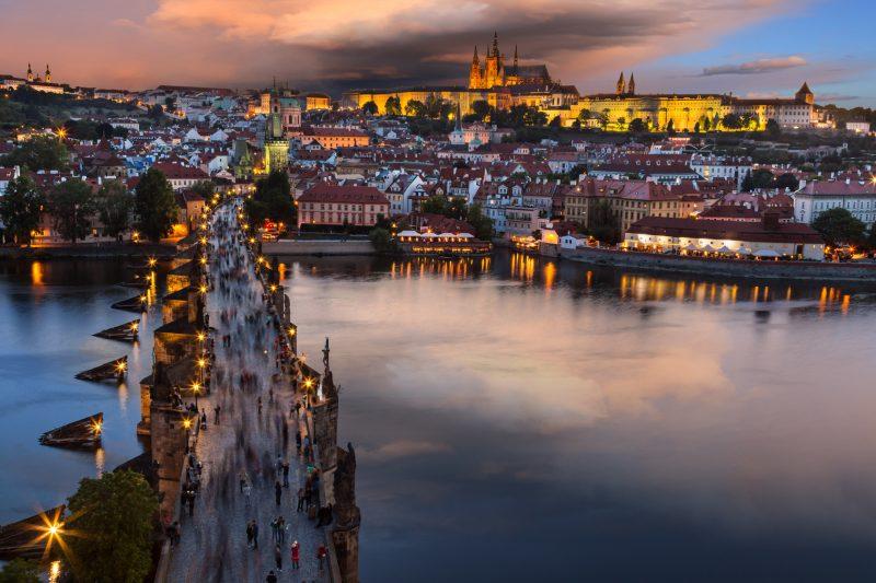 Prag Moldau ein Fluss in der Hauptstadt von Tschechien